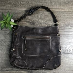 J. Crew Collection Leather Brown Pebbled Bag
